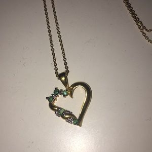 Emerald gold heart necklace heart💚
